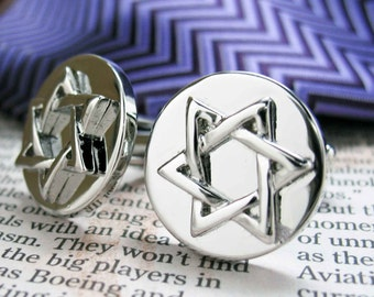 Star of David Cufflinks Jewish Religious Symbols Hanukkah Faith Bar Mitzvah Shield of David Magen David Silver Tone Cuff Links