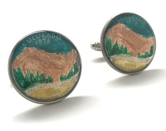 Enamel Cufflinks Hand Painted Colorado State Quarter Mountain Enamel Coin Jewelry Money Green Finance Accountant Cuff Links Designer