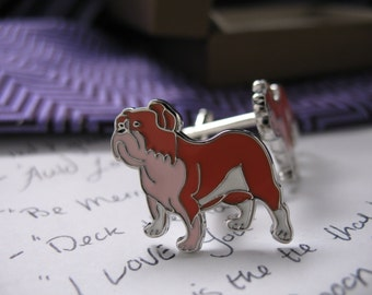 Bulldog Cufflinks Animal Dogs Engraved Silver Toned and Enamel Toned Cuff Links