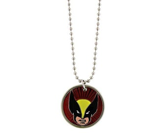 Necklace with Wolverine Face Jungle Raiders Super Cool Ghost Squadron Elite Team First Patrol Unit vintage jewelry