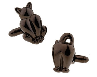 Black Cat Cufflinks Coming and Going Kitty Cuff Links