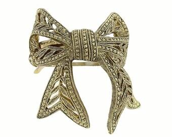 Filigree Bow Pony Tail Holder Hair Clip Beautiful Tone Elegant Twists Gold or Silver Bow Hair Barrett