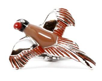 Flying bird Cufflinks Silver Tone and Enamel Cuff Links