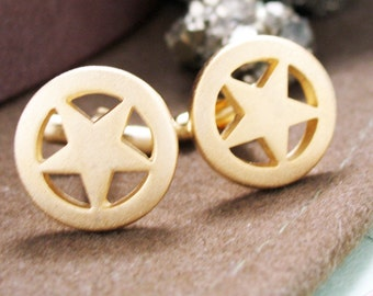 Lone Star Cufflinks Gold Tone Matte Cuff Links