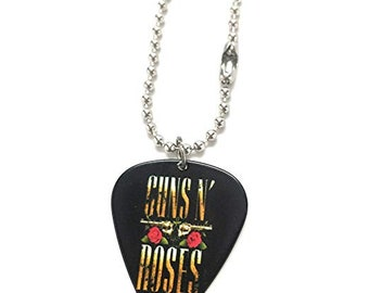 Gun's and Roses Necklace Guitar Pick Red Rock Music Band Limited Edition Guitar Pick Pendant Necklace