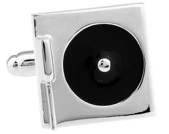 Old-school Turn Table Cufflinks DJ Record Player Cufflinks Silver Black 3D Cuff Links Turntable Comes with Gift Box