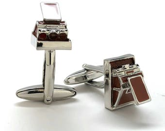 Retro Camera Cufflinks Instant Film Enthusiast Film Jewelry Buff Hobby Photographer Cool Fun Unique Cuff Links Comes with Gift Box