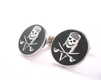 Pirate Skull and Cross Bones V Cufflinks Calico Jack Sea Sailor Navy Cufflinks Cuff Links