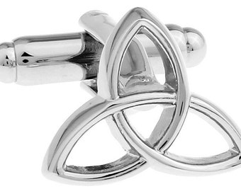 Holy Trinity Silver Toned Religious Bullet Post Cufflinks Cuff Links