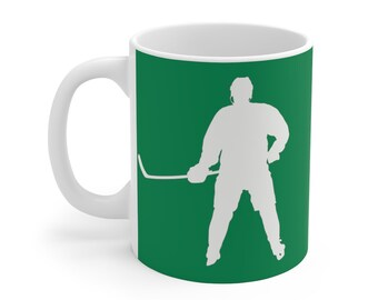 Hockey Coffee Mug 11oz Green and White Hockey Player Coffee Cup Hockey Coach For the Love of the Game