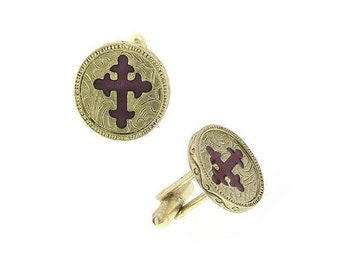 14K Gold Dipped With Red Enamel Cross Cufflinks Religious Collection Round Faith Cuff Links
