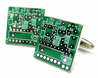 Circuit Board Cufflinks Computer Green King of the Nerds Cufflinks Cuff Links