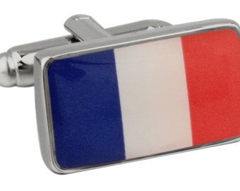 Men's Executive Cufflinks Shiny Silver French Flag Bon Voyage Country Flag Cuff Links