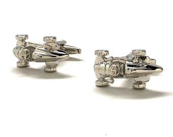 Box Car Racer Cufflinks Old School Race Car Cufflinks Silver Tone 3D Detailed Indy Car Fun Cool Unique Design Cuff Links Comes with Gift Box