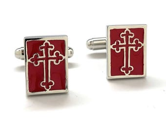 Greek Orthodox Cross Cufflinks Red Enamel and Silver Tone Religious Symbols Cuff Links With Gift Box