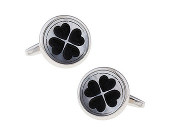 Four Leaf Clover Cuff Links Mother of Pearl with Black Accents Silver Clover Cufflinks Ireland Irish Comes with Gift Box