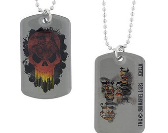 Dog Tag Marvel Comics Ghost Rider Flames Skull Hero Dog Tag Pendant Necklace vintage jewelry
