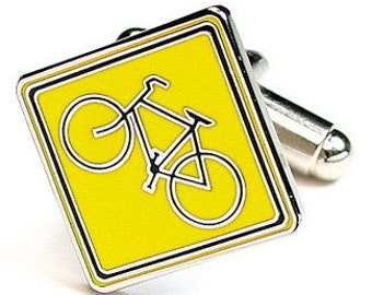 Yellow Enamel Bike Crossing Bicycle Cufflinks Cyclist Cuff Links