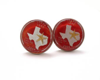 Enamel Cufflinks Hand Painted Texas State Quarter Enamel Coin Jewelry Money Crown Royal Finance Accountant Cuff Links Comes with Gift Box