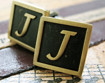J Initial Cufflinks Antique Brass Square 3-D Letter Vintage English Lettering Cuff Links Groom Father Bride Wedding Anniversary Gift Box