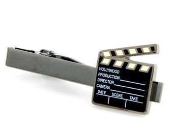Clapperboard Hollywood Movie Tie Clip Tie Bar Silver Tone Very Cool Comes with Gift Box