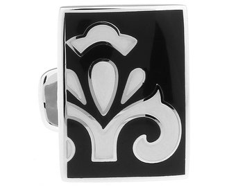 Cufflinks Black and White Bold Passion Fleur Enamel Tile  Cuff Links Solid Post Whale Tail Backing Cufflinks