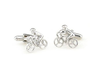 Silver Tone Bike Cyclist Cufflinks I Like to Ride My Bicycle Cuff Links