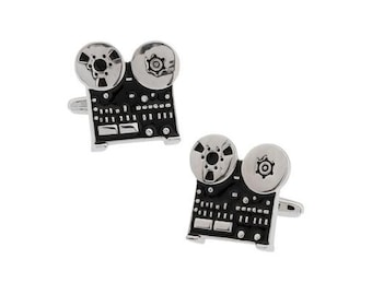 Old Time Cufflinks Reel to Reel Sound HI FI Vintage Audio Tape Player Open Reel Recording Cuff Links Comes Gift Box Hobbies Love Music Fun
