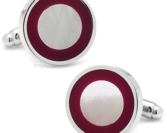 Mulberry Purple Cufflinks Rim Round Monther of Pearl Silver One of a Kind Purple Cuff Links