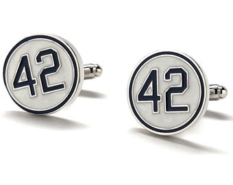 42 Cufflinks White Enamel with Blue Number Forty Two Honoring Baseball's Barrier Breaker Cuff Links
