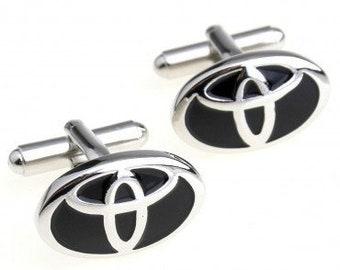 Toyota Logo Black Silver Car Automobile Lover Cufflinks Cufflinks