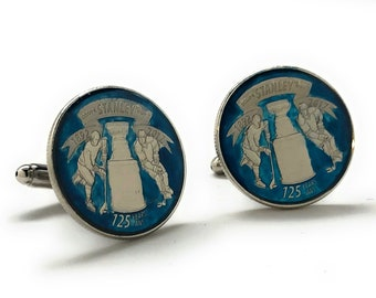 Enamel Cufflinks Hand Painted Blue Edition NHL Ice Hockey Cuff Links Stanley Cup Trophy Winner 20017 Canadian Quarter Enamel Coin Jewelry