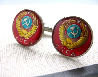 Birth Year Enamel Cufflinks CCCP Russia Communism Red Star Russian Cuff Links Hand Painted Enamel Coin Jewelry Cufflinks Comes with Gift Box