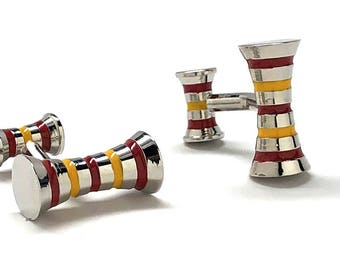 Variegated Stripes Cufflinks Yellow and Bronze Double Ended Barrel Straight Solid Post Cuff Links Comes with Box