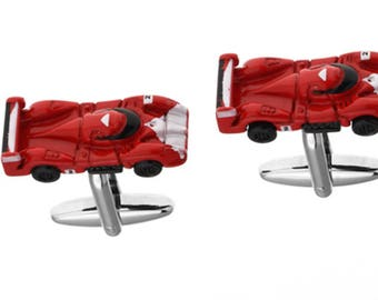 Sports Car Racing Cufflinks Red Finish 3D Detailed Grand Touring Fun Cool Unique Design Cuff Links Comes with Gift Box