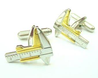 Calipers Cufflinks Silver Gold Tone Slipstick Measuring Square Ruler Architect Professional Designer Draftsman Engineer Cuff Link Builder