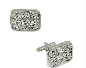 Embossed Square Filigree Cufflinks Silver Tone Cuff Links
