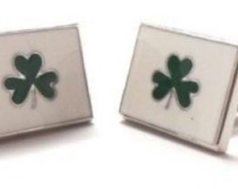 St Patricks Day Three Leaf Clover Flag Irish Cufflinks Cuff Links