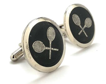 Professional Tennis Racket Cufflinks 3D Design Very Cool Unique Silver Tone Black Enamel Round Cuff Links Comes with Gift Box