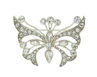 Shawl Pin, Silver Crystal Butterfly Pin