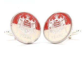 Enamel Cufflinks Monaco Enamel Coin Jewelry Cuff Links Hand Painted Flag Suit Vintage Wedding Gift Suit France Monte Carlo Lucky Casino