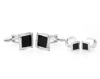 Silver Onyx Cufflinks with Matching Shirt Studs Silver with Square Cuff Links 4 Shirt Studs Comes with Gift Box