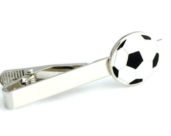 Soccer Ball Tie Clip Tie Bar Silver Tone Very Cool Comes with Gift Box