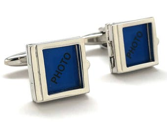 Cufflinks Classic Square Photo Frame Silver Tone Cuff Links Ready to Frame a Picture Or Anything You Like Cool Fun Comes with Gift Box