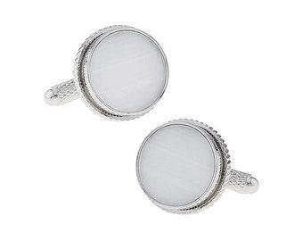 Cufflinks Silver Rim Round Mother of Pearl Round Formal Cufflinks Cuff Links