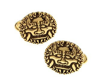 Gold Tone Sun King Cufflinks The King of France Power Royal Crown Empire Cool 3D Black Enamel Cuff Links Comes with Gift Box