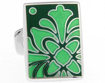 Emerald Green Cufflinks Irish Green Enamel Bloom Tile Whale Tail Post Cufflinks Cuff Links Classic Style Dress