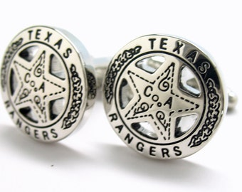 Texas Ranger Cufflinks Old West Silver Tone Lone Star Badge Lone Ranger Cuff Links