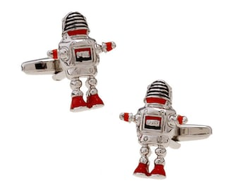 Retro Robot Cufflinks Silver Red Black Enamel Arms Head and Legs Cool Fun Unique Cuff Link Comes with Gift Box White Elephant Gifts
