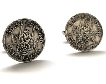 Sterling Silver Cufflinks Scottish Crest British Shillings Coin Birth Year Coins Jewelry Crown Queen Royal England Seal WWII Britain Lion